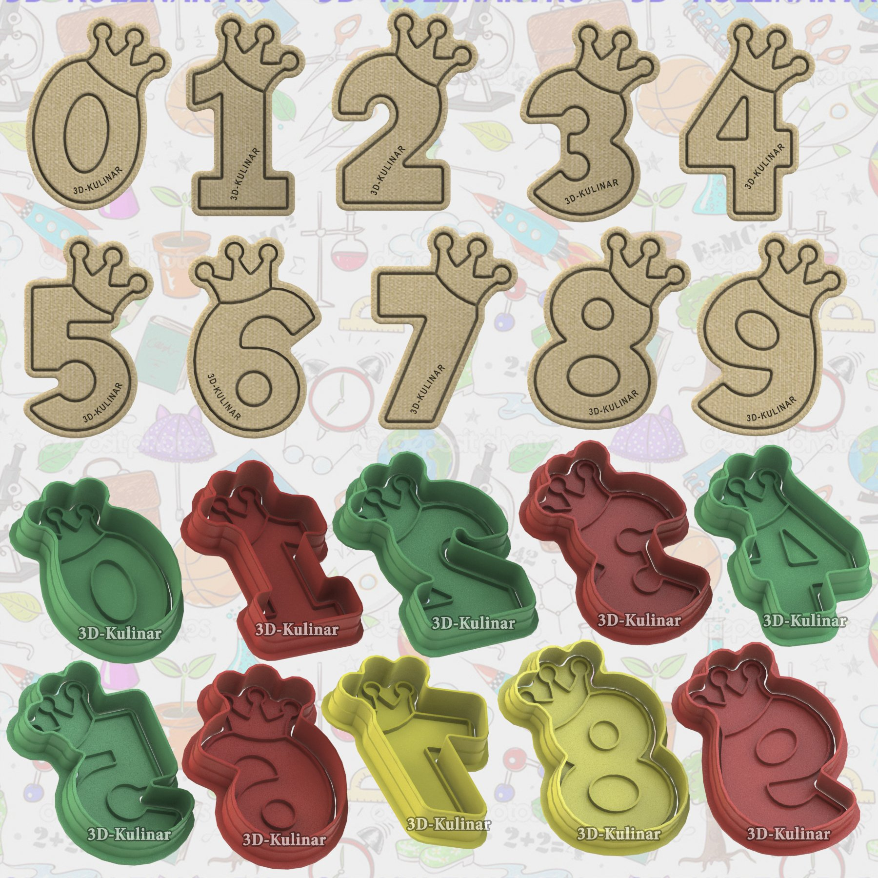 "Stamp + Cookie cutter ""Numbers with crown"""