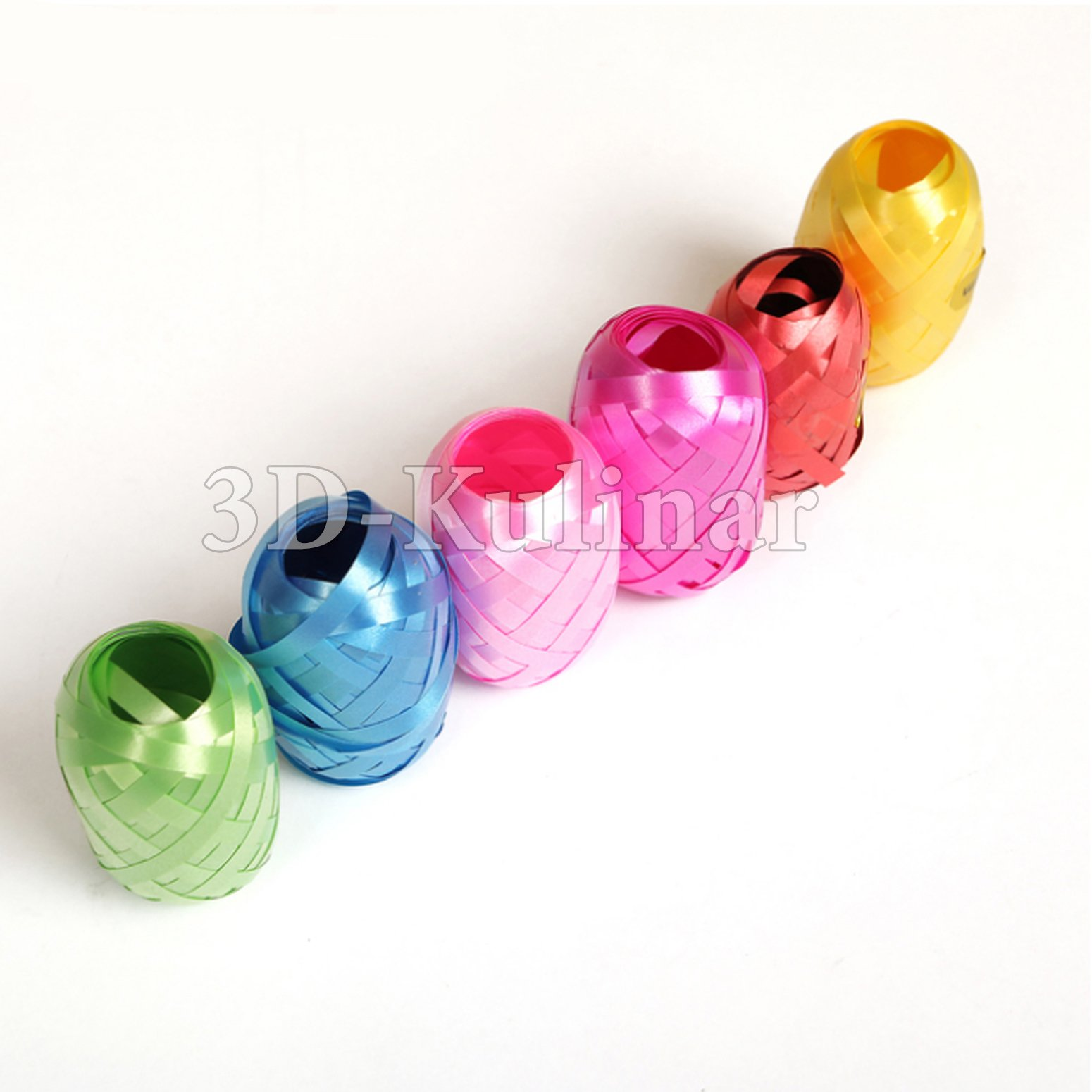 Color satin ribbons 6 pieces pack 0,5 cm*10 m