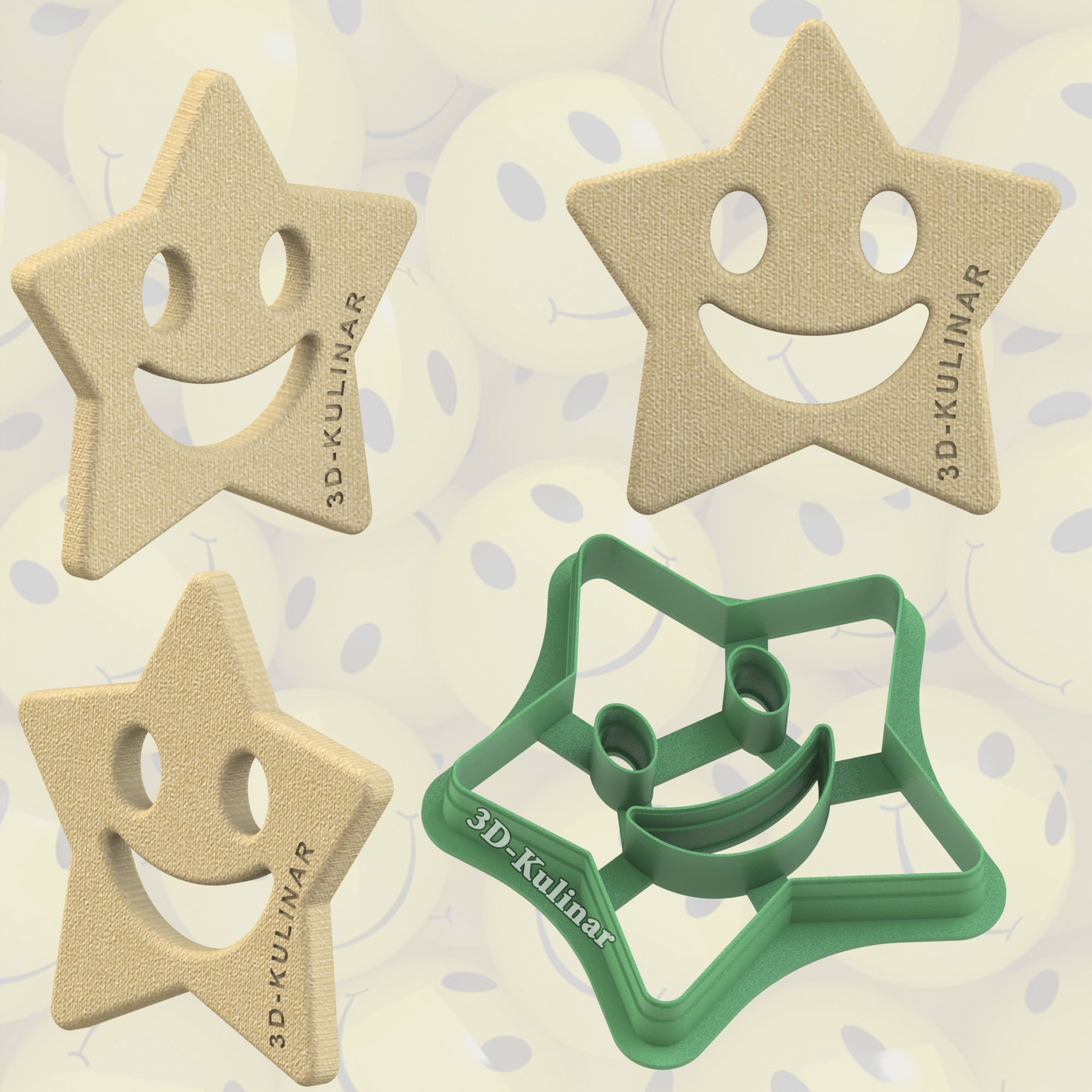 "Cookie cutter ""Star with smile"""
