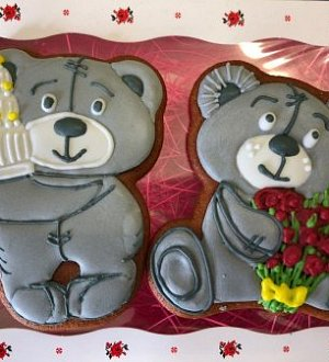 "Stamp + cookie cutter ""Bear with present"""
